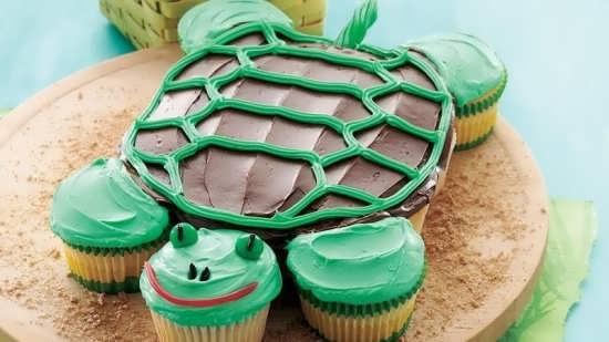 تزیین ساده کیک به شکل لاک پشت