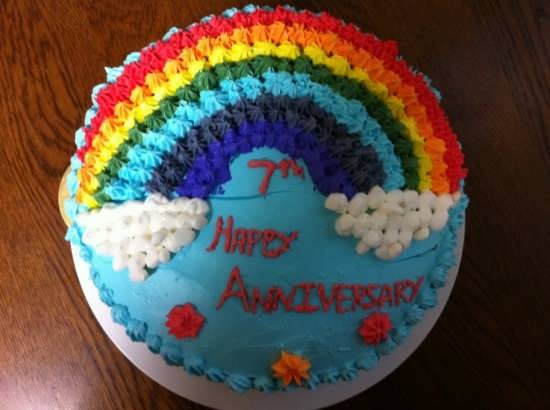 تزیین کردن کیک به شکل رنگین کمان