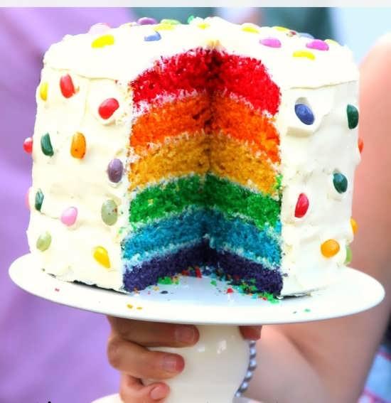 تزیین کیک ساده با خامه و شکلات های رنگی