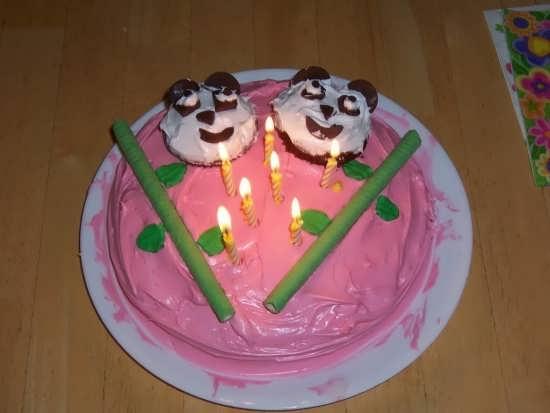تزیین کیک با طرح خرس و شمع