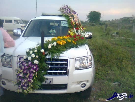 تزیین ماشین عروس با گل طبیعی