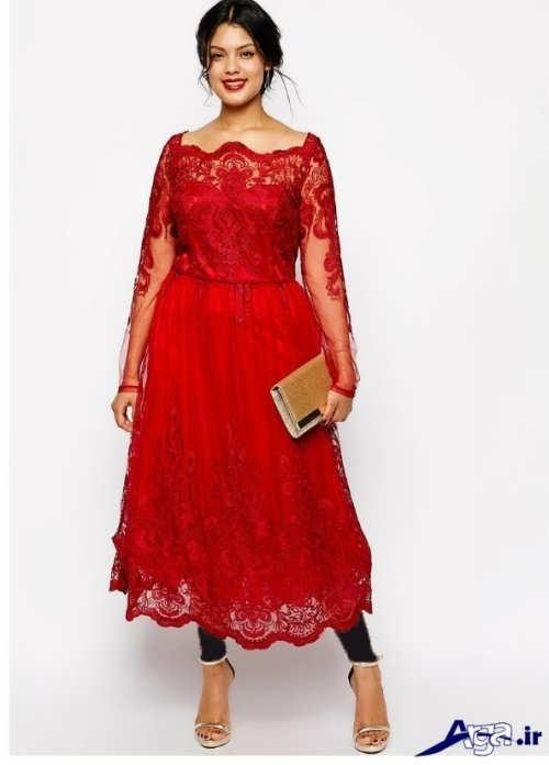 مدل لباس مجلسی گیپور برای خانم های چاق