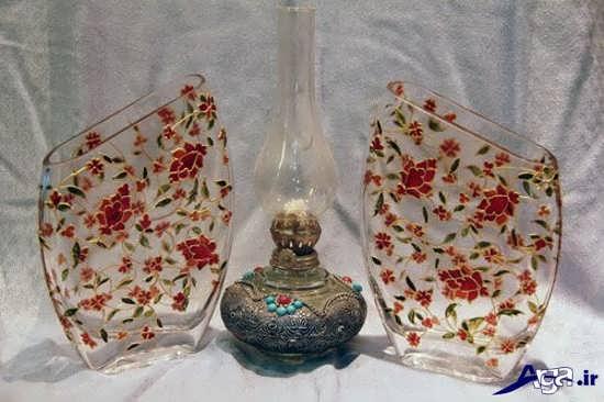 نقاشی روی گلدان شیشه ای