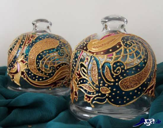 تزیین ظروف شیشه ای با رنگ ویترا
