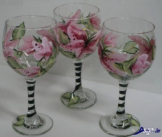 تزیین جام شیشه ای با رنگ ویترا