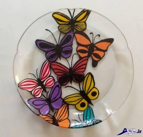 تزیین بشقاب شیشه ای با رنگ ویترا