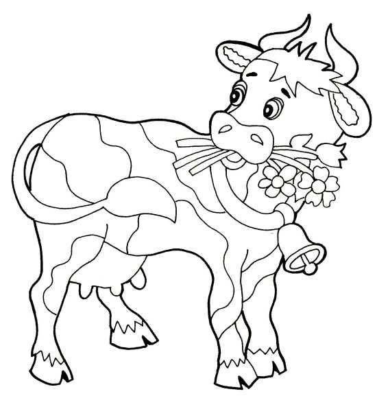 نقاشی های گاو همراه با گل