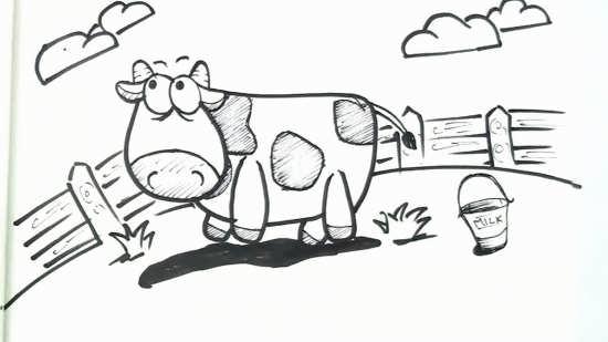 نقاشی جذاب گاو