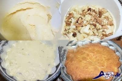 اضافه کردن موز و گردو و آرد به مایه کیک