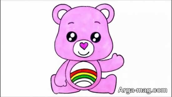 نقاشی خرس برای کودکان همراه با رنگ آمیزی آن