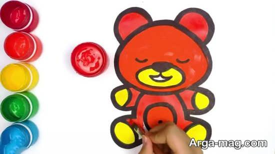 نقاشی خرس کودکانه و رنگ آمیزی آن