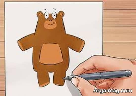 نقاشی خرس کودکانه با رنگ آمیزی جالب
