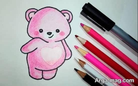 طرح نقاشی خرس صورتی