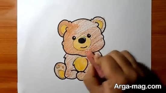 آموزش رنگ آمیزی حیوان خرس