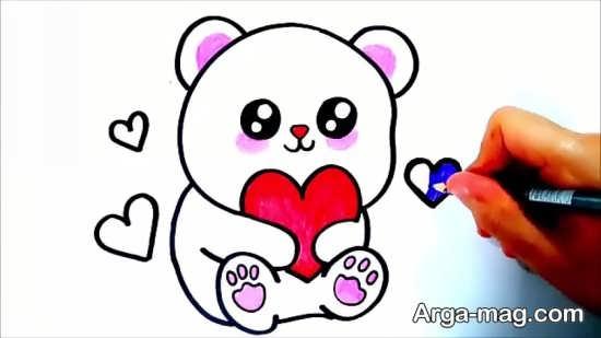 نقاشی حیوان خرس و رنگ آمیزی آن