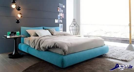 دکوراسیون اتاق خواب آبی و سفید