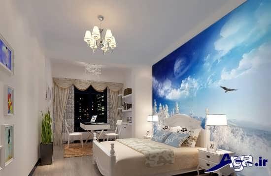 کاغذ دیواری اتاق خواب با طرح های شیک و کاربردی