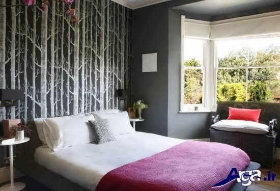 کاغذ دیواری اتاق خواب با طرح های متنوع
