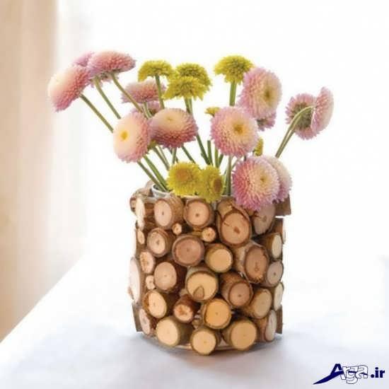 خلاقیت در ساخت گلدان با چوب