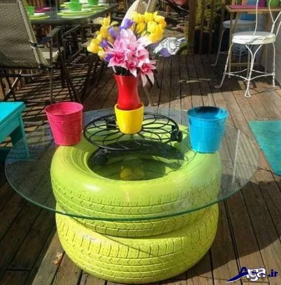 ساخت میز خلاقانه با لاستیک
