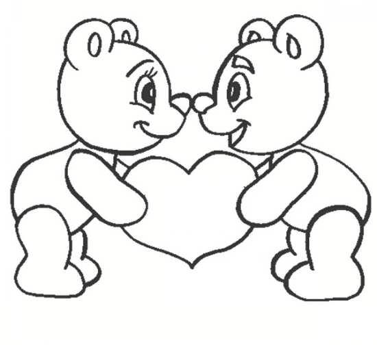 نقاشی قلب و خرس