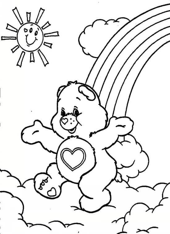 نقاشی رنگین کمان و خرس