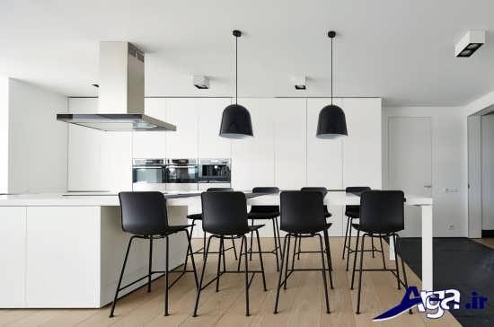 طراحی آشپزخانه با دکوراسیون مدرن مشکی و سفید