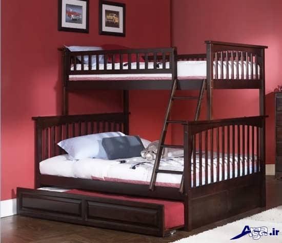 عکس تخت خواب چوبی دو طبقه