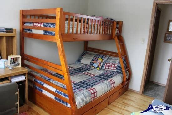 تخت خواب چوبی دو طبقه