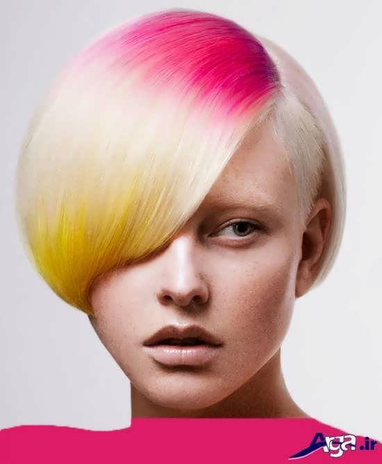 مدل موی کوتاه به همراه رنگ مو فانتزی