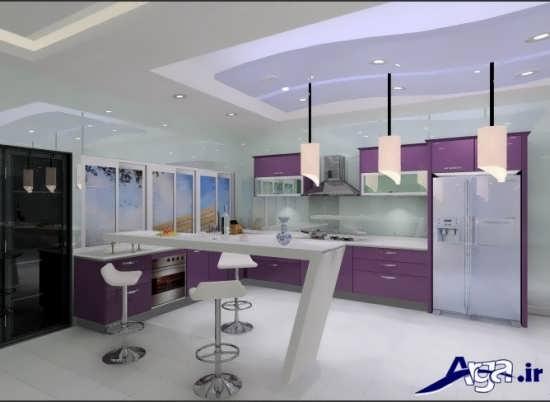 طراحی دکوراسیون آشپزخانه با کابینت هایگلاس