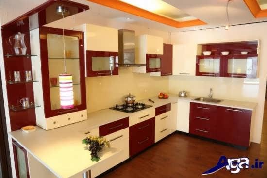 کابینت آشپزخانه گلاس با دو رنگ سفید و قرمز