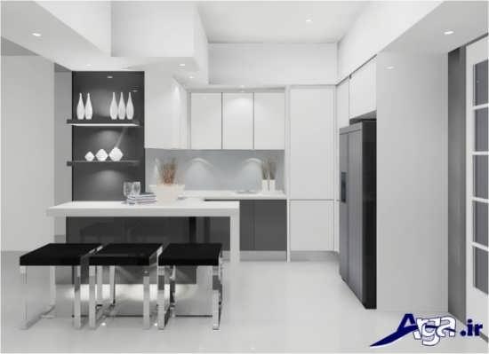 مدل کابینت آشپزخانه با طراحی گلاس