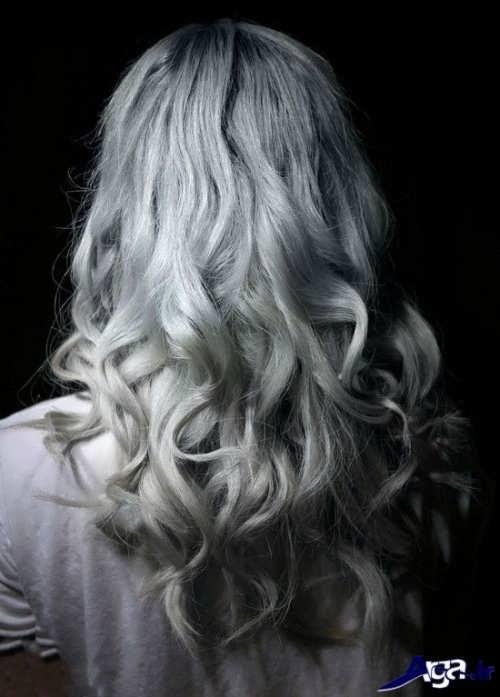 مدل موی بلند با رنگ موی زیبا یخی