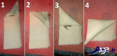 روش پیچیدن سمبوسه در مراحل مختلف