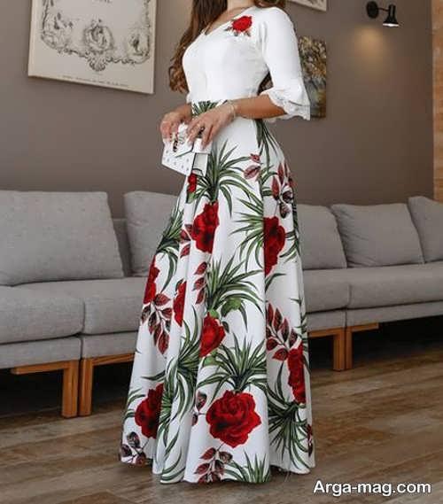 تصاویری از دامن بلند و گلدار