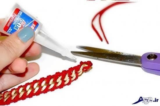 ساخت دستبند ساده با چرم و زنجیر