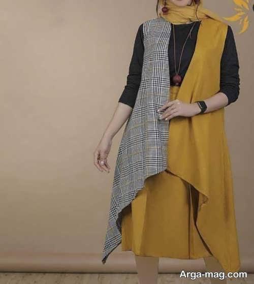 مدلهای سارافون مانتویی دو رنگ
