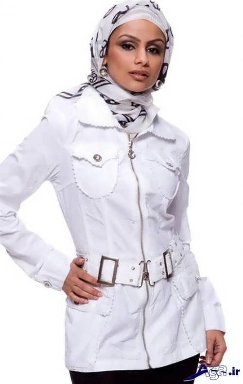 مدل مانتو سفید اسپرت