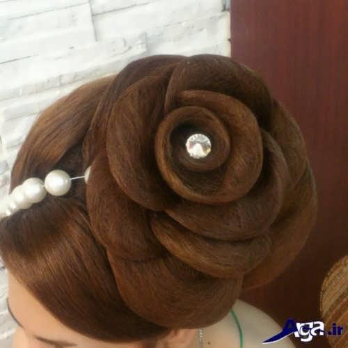 مدل موی عروس با طرح گل