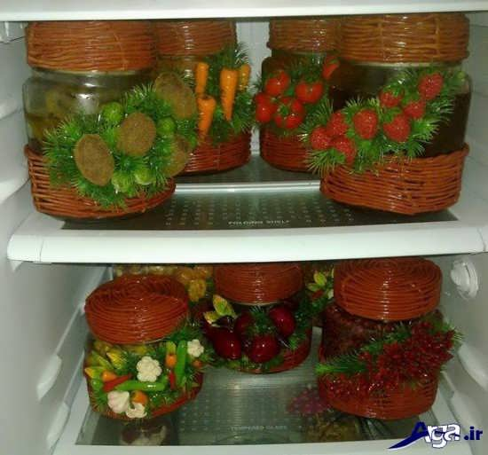تزیین شیشه مربا داخل یخچال عروس
