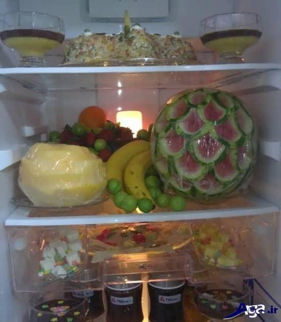 تزیین میوه های داخل یخچال عروس