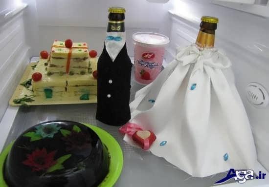 تزیین بطری داخل یخچال عروس