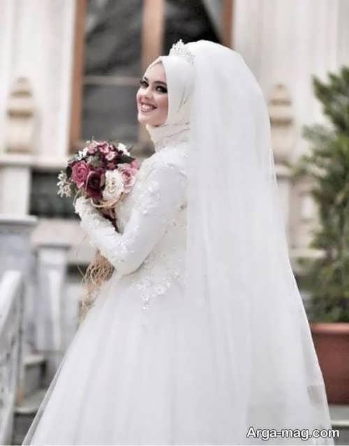 لباس عروس آستین دار زیبا