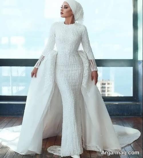 لباس عروس محجبه دنباله دار