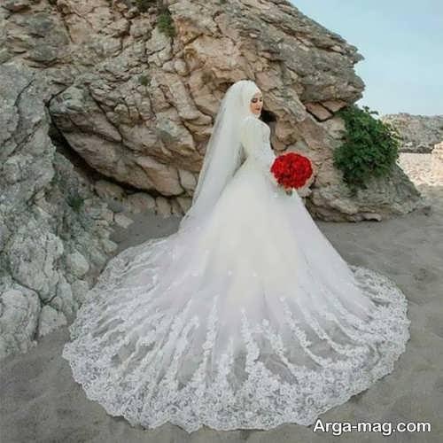 انواع لباس عروس با طرح اسلامی