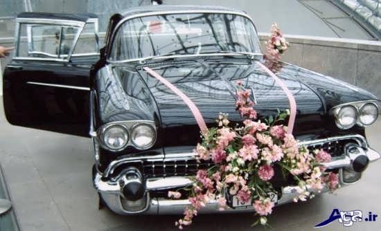 تزیین روی ماشین عروس با گل