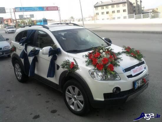 تزیین ماشین عروس زیبا با گل
