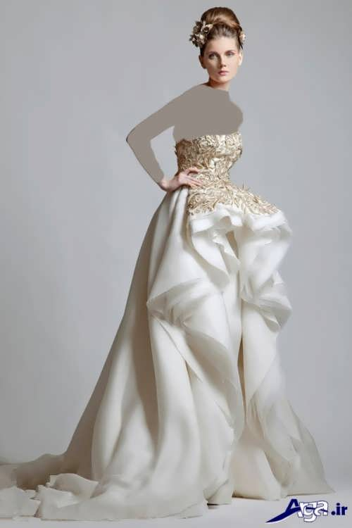 لباس عروس با بالا تنه کار شده