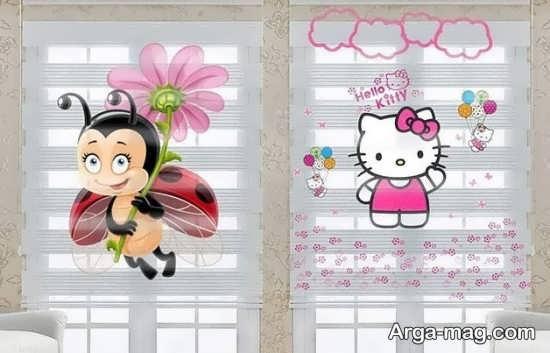 پرده زبرا اتاق کودک با طرح زنبور عسل